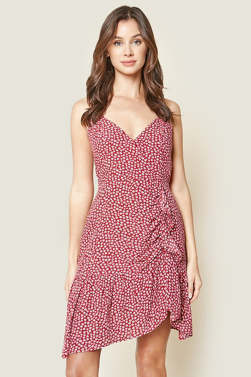 Floral Spaghetti Strap Ruched Ruffle Hem Dress