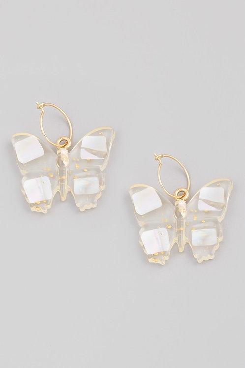 Clear Butterfly Drop Earrings
