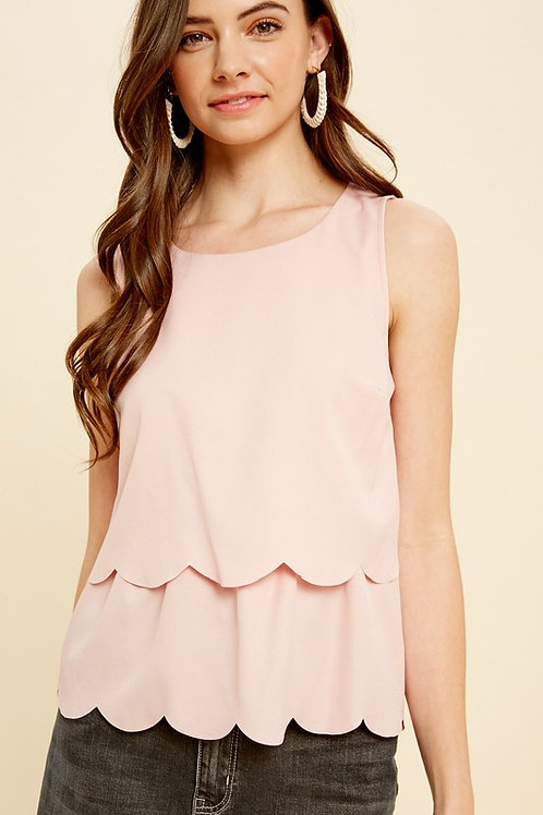 Scallop Edge Tiered Open Back Top