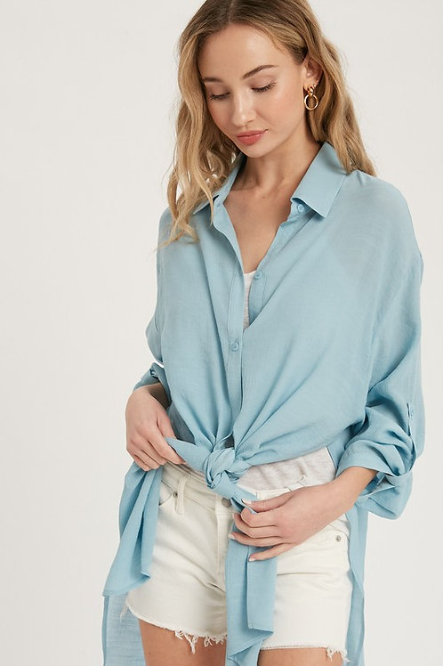 Longline Rolled Up Sleeves Button Down Shirt