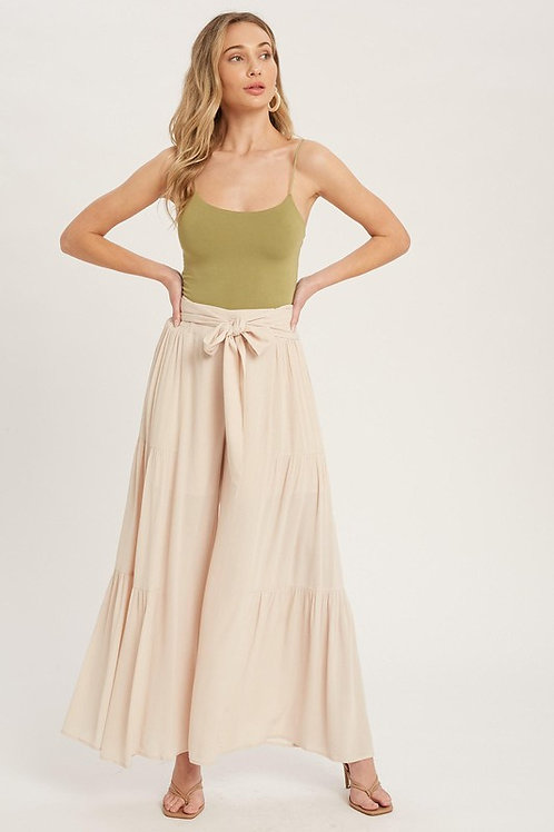 Tiered Flowy Wide Leg Belted Pants
