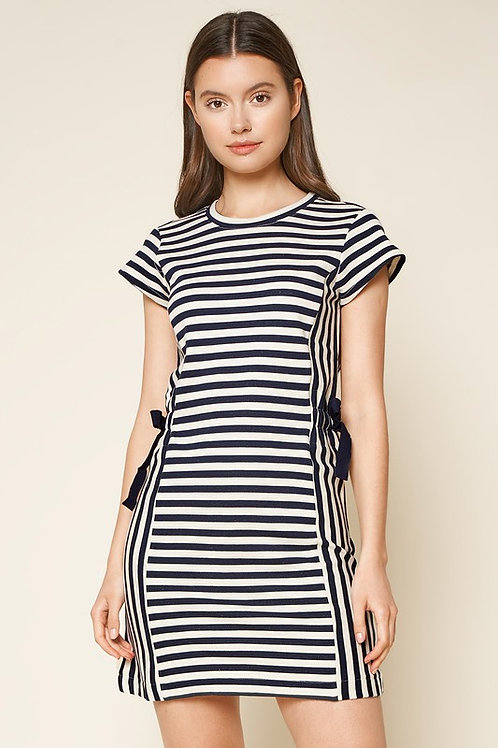 Short Sleeve Side Tie Striped Dress