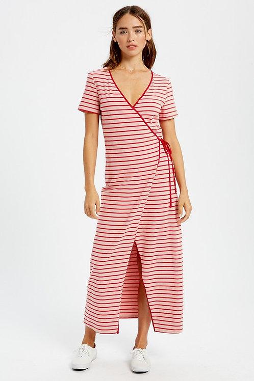 Striped Short Sleeve Wrap Maxi Dress