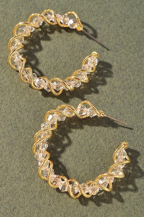 Clear Bead Gold Wrapped Hoop Earrings