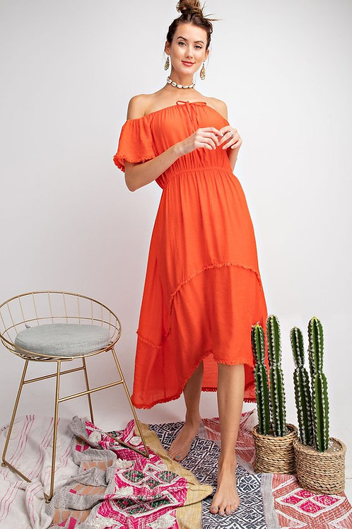 Strapless Raw Hem High Low Dress