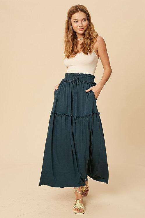 Smocked Waist Drawstring Tiered Maxi Skirt