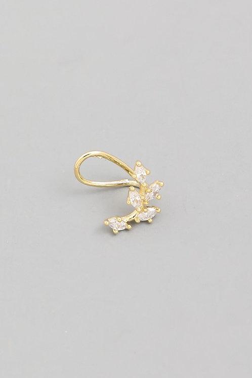 Gold Rhinestone Leaf Ear Cuff Earrings