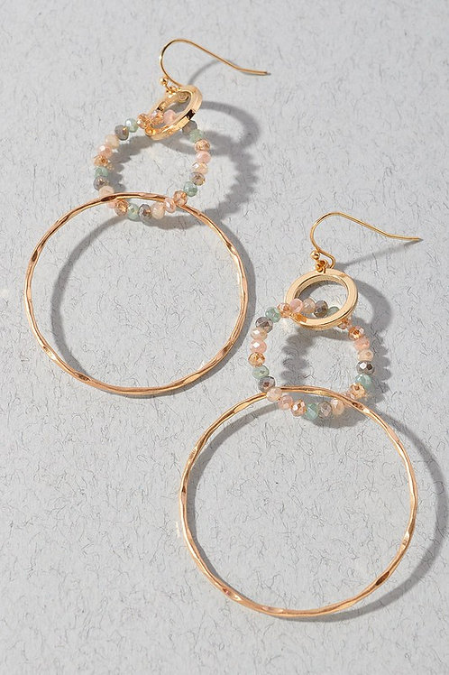 Multicolour Bead Circle Drop Earrings