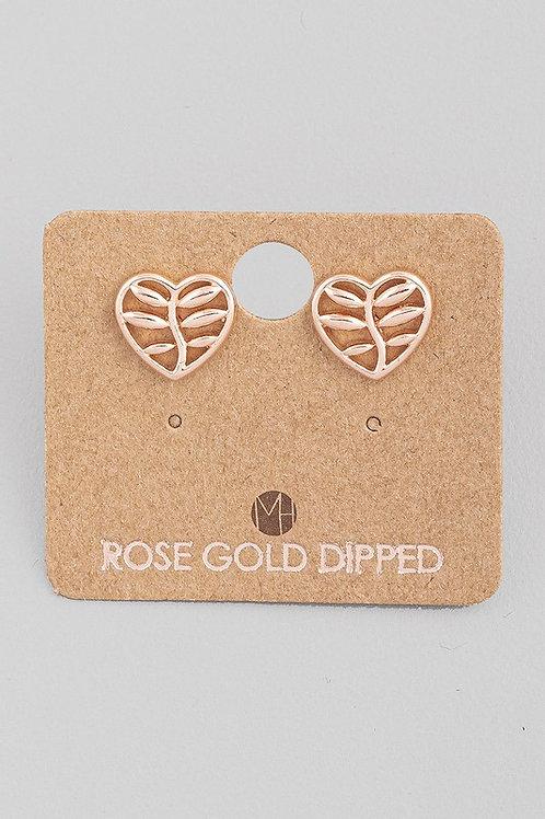 Mini Rose Gold Heart Leaf Stud Earrings