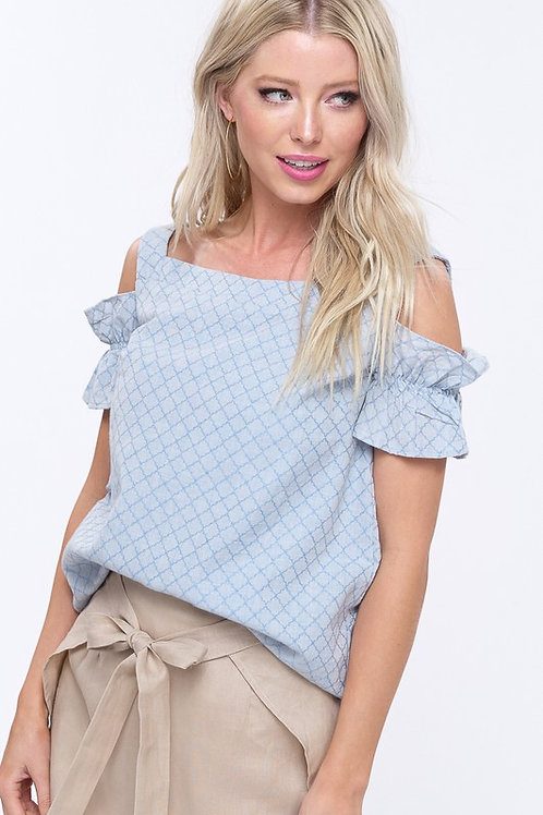 Embroidery Detail Cold Shoulder Top
