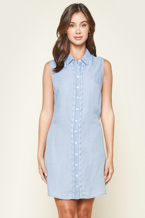 Sleeveless Button Down Chambray Shirt Dress With Scallop Trim Detail (Preorder)