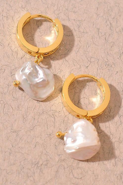 Gold Hoop Pearl Drop Earrings - 18K Gold Plated