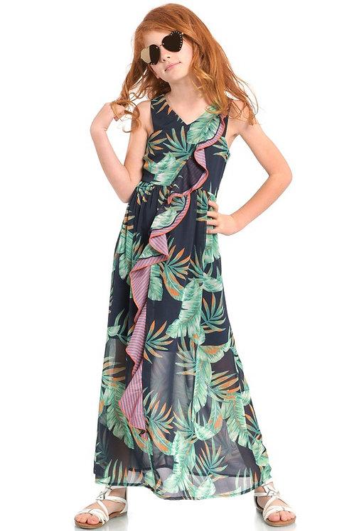 Leaf Print Cascading Ruffle Detail Maxi Dress