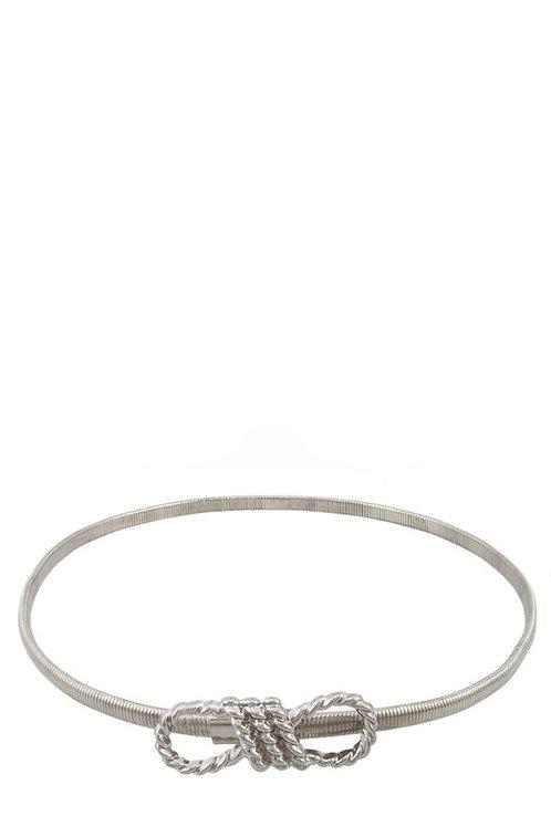 Bow Detail Metallic Snake Belt - Silver (Preorder)