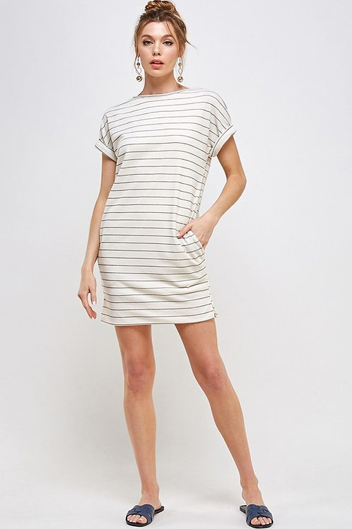 Striped Short SleeveDress with Side Pockets