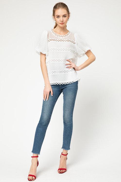 Puff Sleeve Swiss Dot Crochet Lace Trim Detail Top