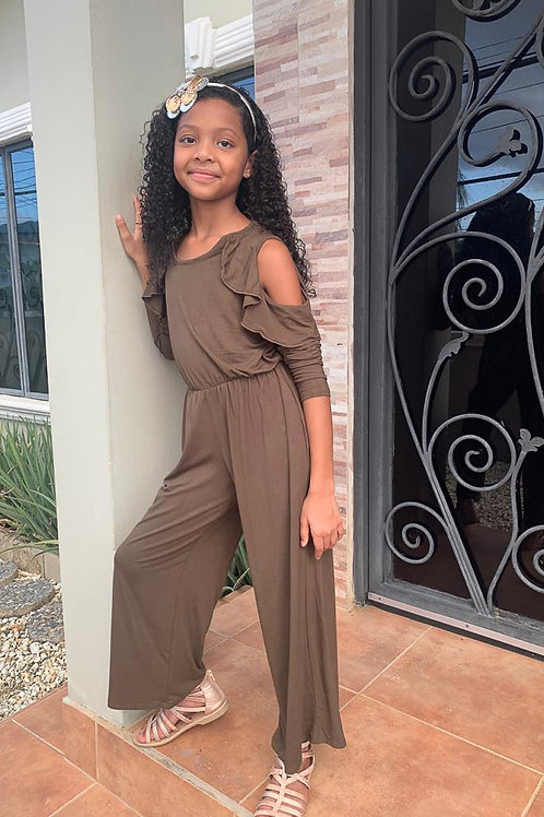 Open Shoulder Ruffle Detail Drawstring Jumpsuit - Available in Olive