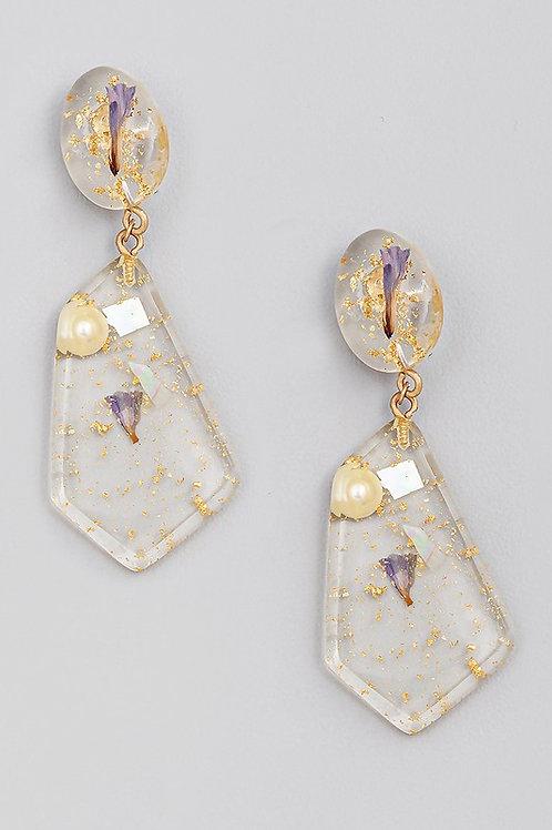 Gold Flower Geo Drop Earrings (Preorder)