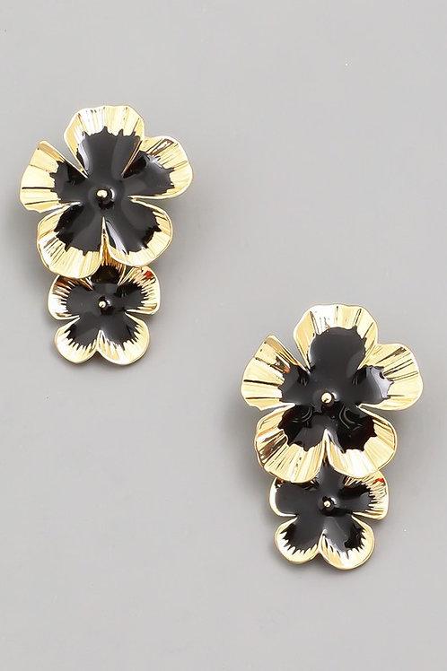 Gold/Black Tiered Flower Earrings
