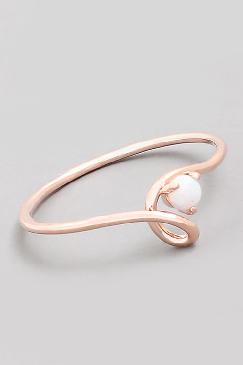 Rose Gold Opal Ring - Size 6