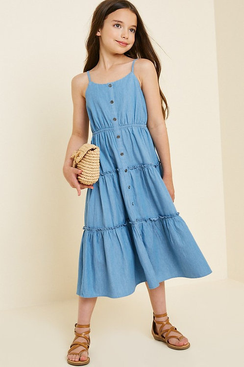 Denim Button Down Tiered Dress - Women's Sizes Available in S, M & L