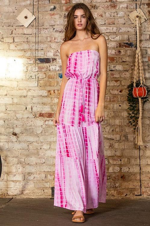 Strapless Tie Dye Drawstring Maxi Dress