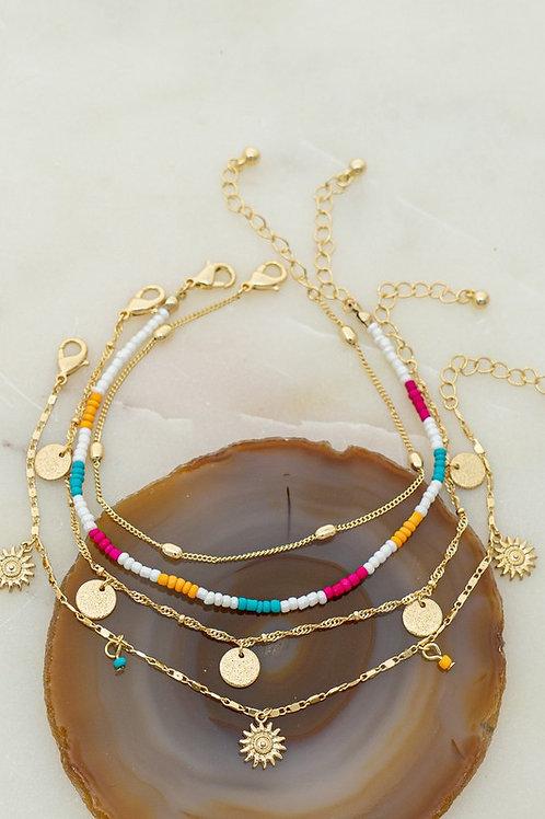 Multi Strand Bead Charm Bracelet