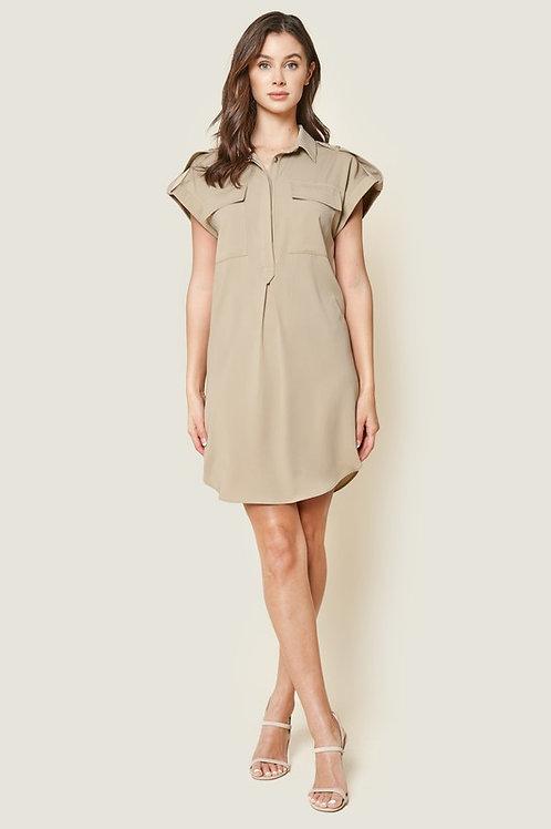 Short Sleeve Utility Shirt Dress