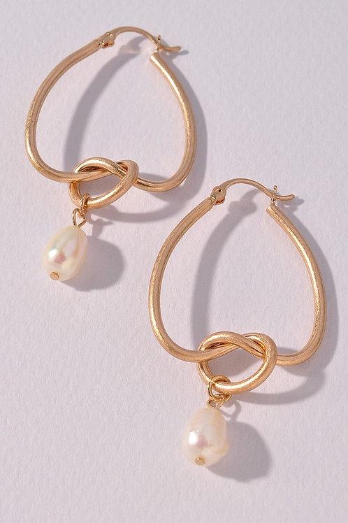 Gold Twisted Hoop Pearl Drop Earrings (Preorder)