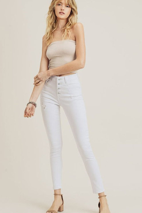 High Waist Button Down Skinny Jeans