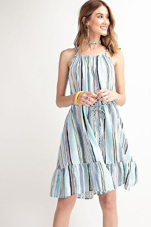 Striped Ruffle Hem Spaghetti Strap Belted Dress