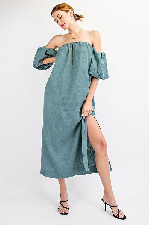 Cotton Off The Shoulder Puff Sleeve Maxi Dress With Side Slit