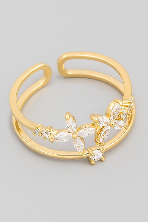 Gold Floral Rhinestone Double Line Ring
