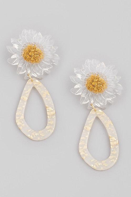 Clear Sunflower Drop Earrings