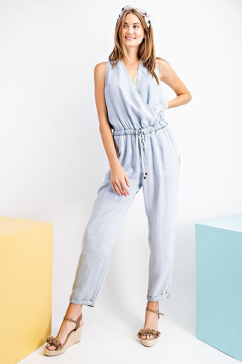 Sleeveless Drawstring Denim Jumpsuit