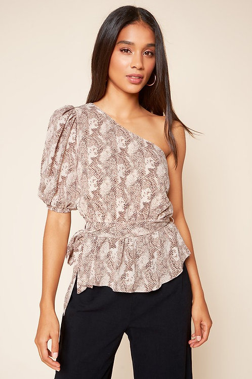 One Sleeve Snake Print Belted Top