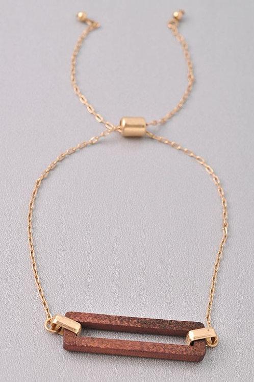 Wooden Detail Chain Bracelet
