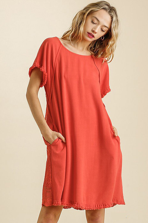 Short Sleeve Linen Cotton Blend Lace Back Dress