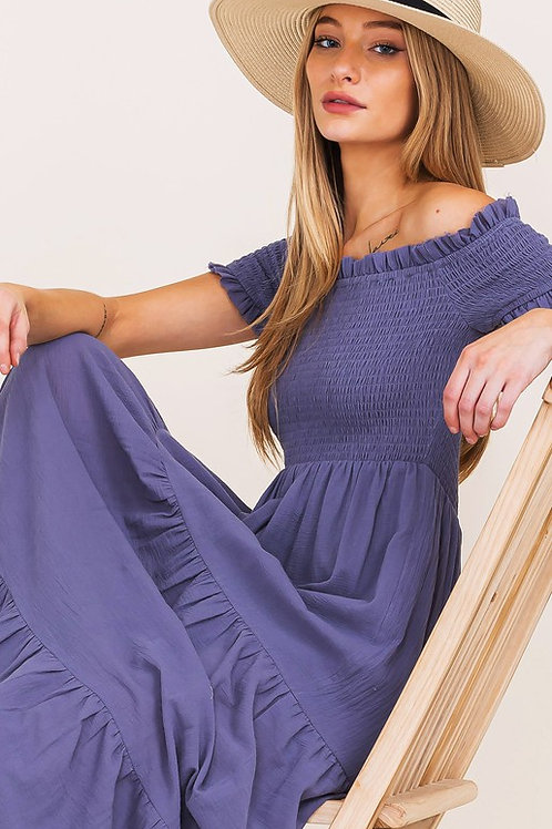 Off The Shoulder Smocked Tiered Maxi Dress