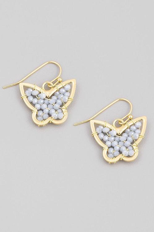Mini Bead Butterfly Drop Earrings - Grey