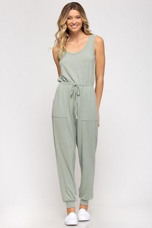 Sleeveless Front Pocket Drawstring Jumpsuit