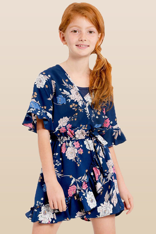 Kimono Sleeve Floral Faux Wrap Romper with Inner Top