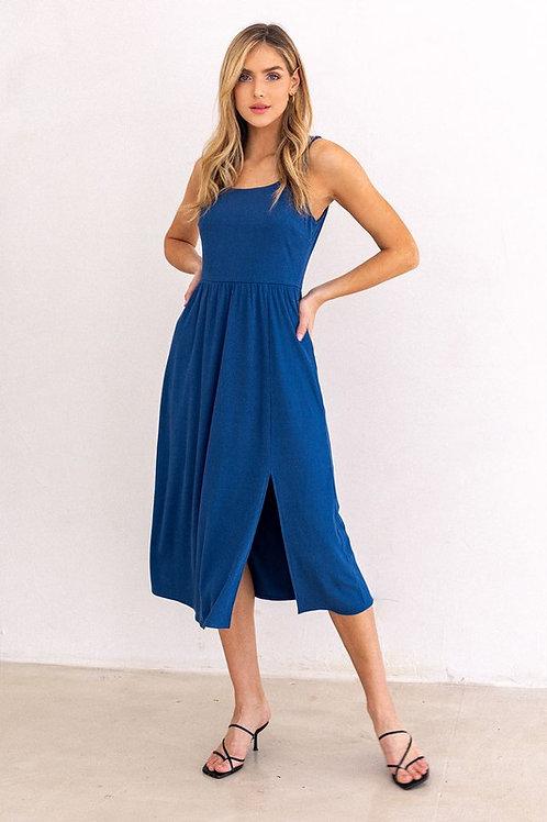 Ribbed Side Slit Dress