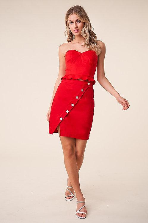 Two Piece Button Detail Skirt Set