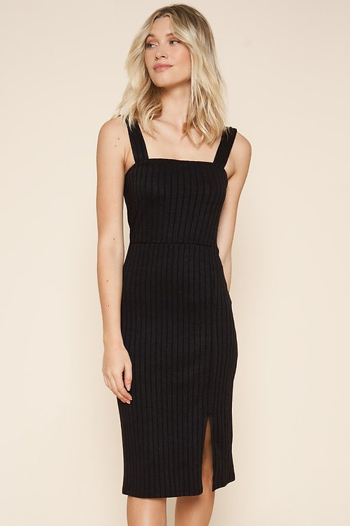 Ribbed Square Neckline Midi Dress (Preorder)
