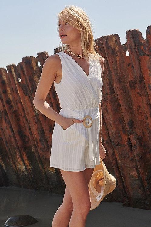 Sleeveless Cotton Surplice Raffia Buckle Romper