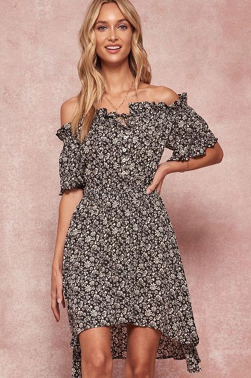 Off The Shoulder Floral Elastic Waist Button Detail High Low Dress