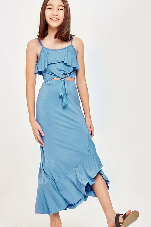 Two Piece Ruffle Detail Tie Top Skirt Set