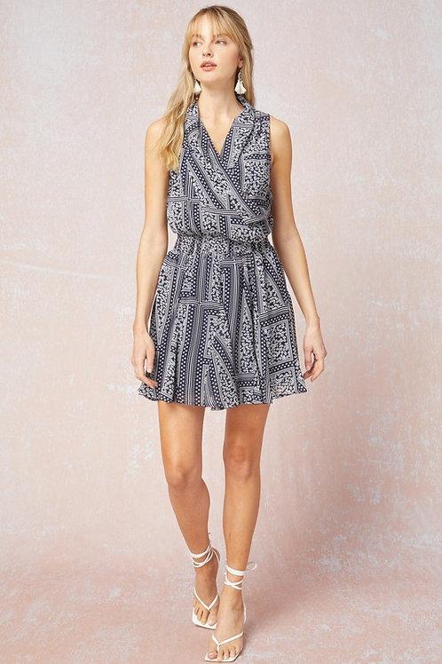 Sleeveless Print Surplice Smocked Waist Dress