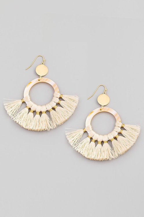 Circle Tassel Drop Earrings - Ivory